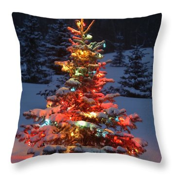 Christmas Tree With Lights Outdoors In Throw Pillow by Carson Ganci