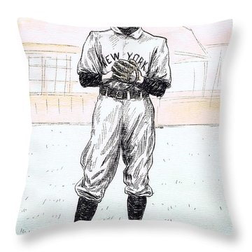 Christy Mathewson Throw Pillow by Mel Thompson