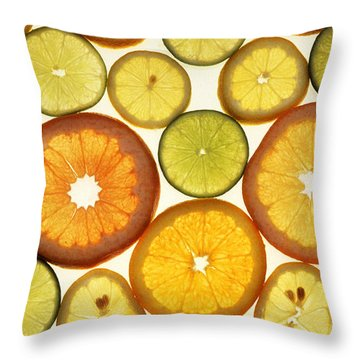 Citrus Slices Throw Pillow by Photo Researchers