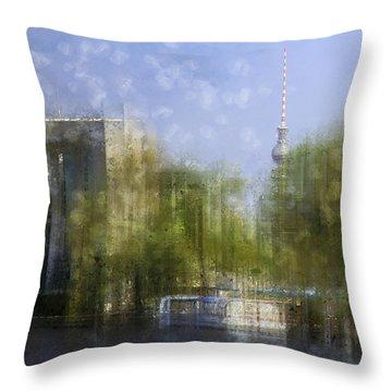 City-art Berlin River Spree Throw Pillow by Melanie Viola