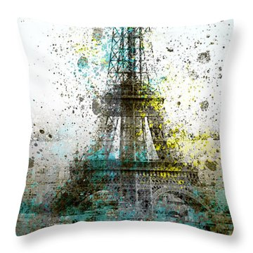 City-art Paris Eiffel Tower II Throw Pillow by Melanie Viola