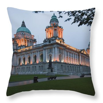 City Hall Illuminated Belfast, County Throw Pillow by Peter Zoeller
