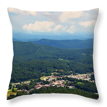 City In The Valley Throw Pillow by Susan Leggett