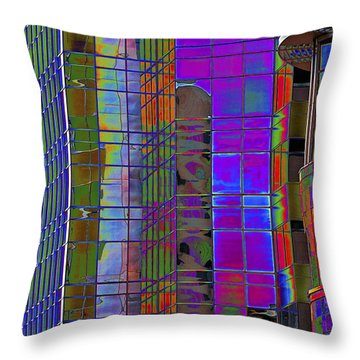 City Windows Abstract Pop Art Colors Throw Pillow by Phyllis Denton