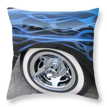 Classic Car Blue Flame 4 Throw Pillow by Anita Burgermeister