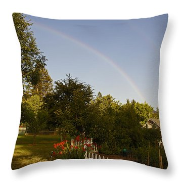Clear Sky Rainbow Throw Pillow by Mick Anderson