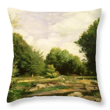 Clearing In The Woods Throw Pillow by Pierre Auguste Renoir