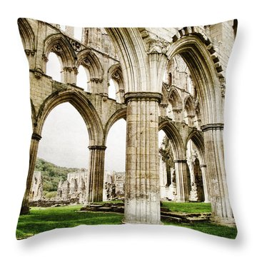 Cloisters Of Rievaulx Abbey Throw Pillow by Sarah Couzens