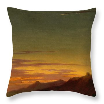 Close Of The Day - Sunset On The Coast Throw Pillow by Alexander Cozens