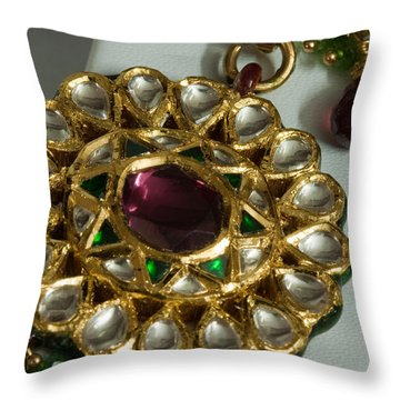 Close Up Of The Gold And Diamond Setting Of A Large Necklace Throw Pillow by Ashish Agarwal