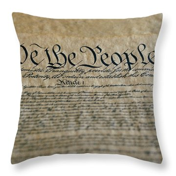 Close View Of The Us Constitution Throw Pillow by Kenneth Garrett