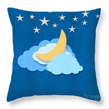 Cloud Moon And Stars Design Throw Pillow by Setsiri Silapasuwanchai