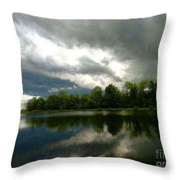 cloudy with a Chance of Paint 4 Throw Pillow by Trish Hale