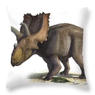 Coahuilaceratops Magnacuerna Throw Pillow by Sergey Krasovskiy