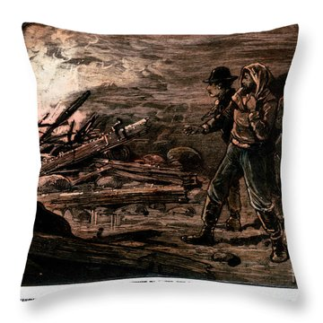 Coal Mine Explosion, 1884 Throw Pillow by Granger