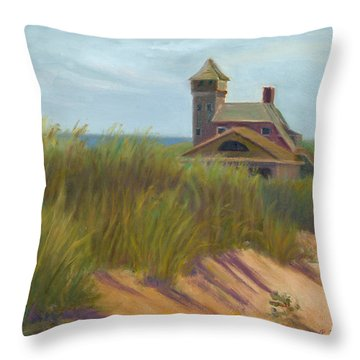 Coast Guard Beach Cape Cod Throw Pillow by Phyllis Tarlow
