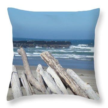 Coastal Driftwood Art Prints Blue Sky Ocean Waves Throw Pillow by Baslee Troutman