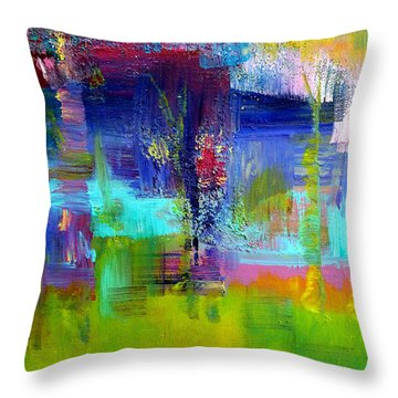 Color Blocks Throw Pillow by Claire Bull