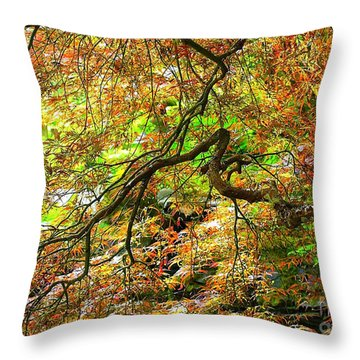 Colorful Maple Leaves Throw Pillow by Carol Groenen