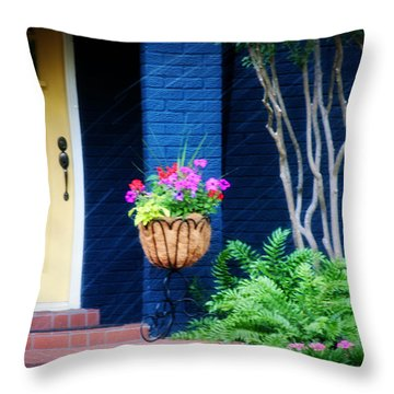 Colorful Porch Throw Pillow by Toni Hopper