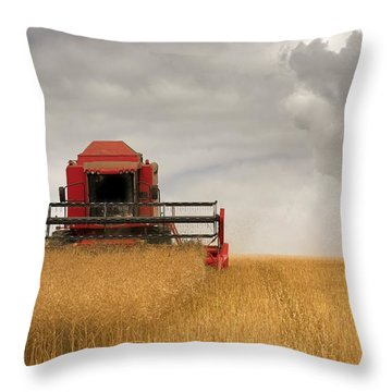Combine Harvester, North Yorkshire Throw Pillow by John Short