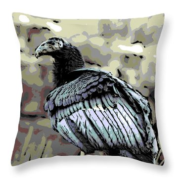 Condor Profile Throw Pillow by George Pedro
