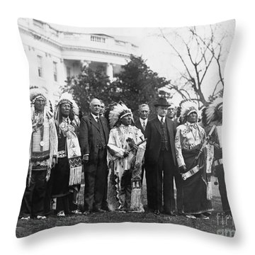 Coolidge With Native Americans Throw Pillow by Photo Researchers