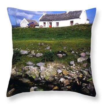 Cottage On Achill Island, County Mayo Throw Pillow by The Irish Image Collection