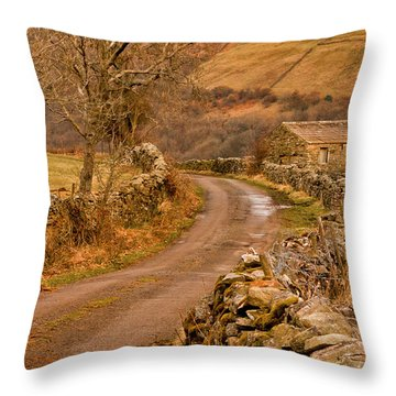 Country Lane Yorkshire Dales Throw Pillow by Trevor Kersley