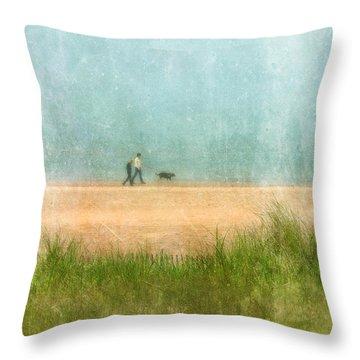 Couple On Beach With Dog Throw Pillow by Jill Battaglia