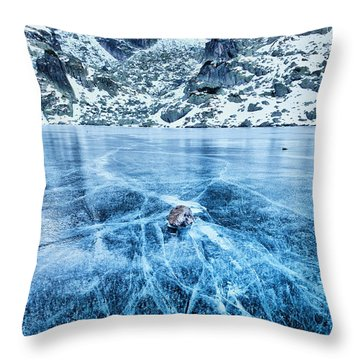 Cracks In The Ice Throw Pillow by Evgeni Dinev