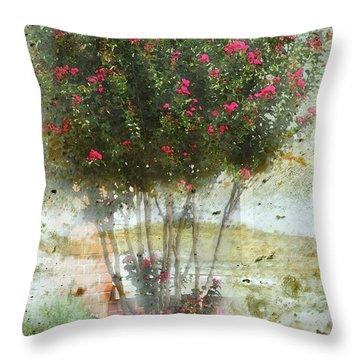 Crape Myrtle Throw Pillow by Debbie Portwood