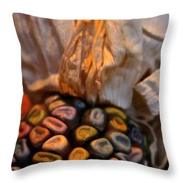 Crazee Corn Colors Throw Pillow by Susan Herber