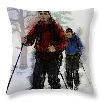 Cross Country Skiers Throw Pillow by Elaine Plesser
