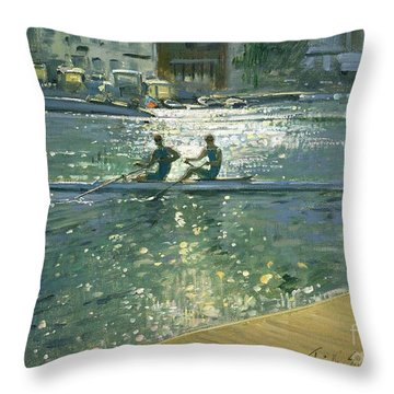 Crossing The Light Break - Henley Throw Pillow by Timothy Easton