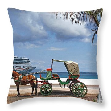 Waiting For Customers Throw Pillow by Joan  Minchak