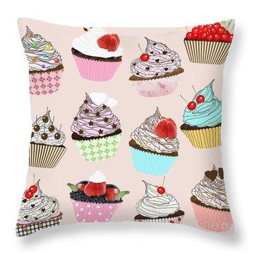 Cupcake  Throw Pillow by Setsiri Silapasuwanchai