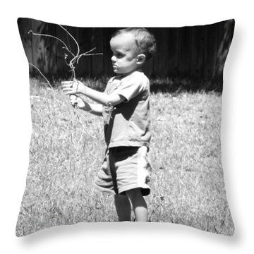 Curious Boy Throw Pillow by Ester  Rogers