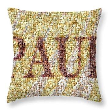 Custom Paul Mosaic Taylor Swift Throw Pillow by Paul Van Scott