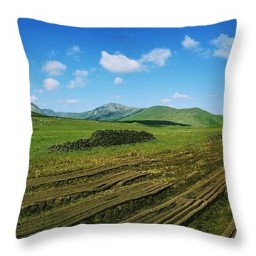 Cut Turf On A Landscape, Connemara Throw Pillow by The Irish Image Collection