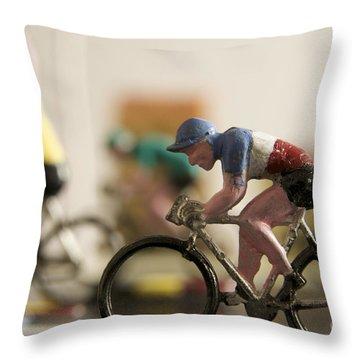 Cyclists. Figurines. Symbolic Image Tour De France Throw Pillow by Bernard Jaubert