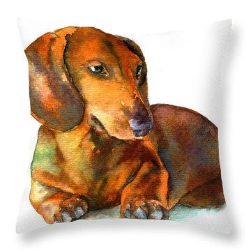 Dachshund Puppy Throw Pillow by Christy  Freeman