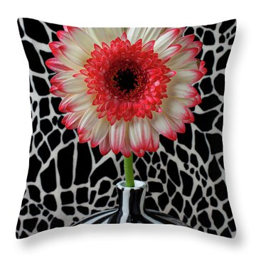 Daisy And Graphic Vase Throw Pillow by Garry Gay