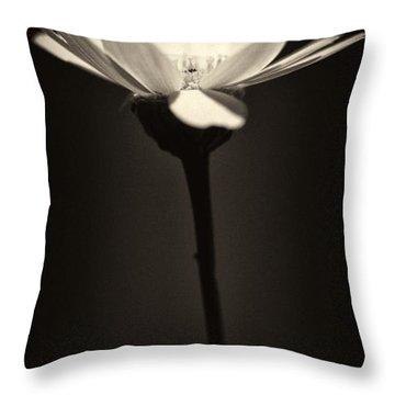 Daisy Flower Monochrome Throw Pillow by Stelios Kleanthous