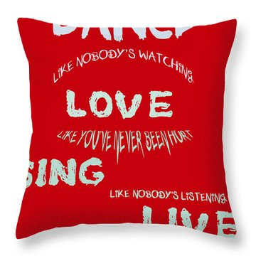 Dance Like Nobody's Watching - Red Throw Pillow by Georgia Fowler