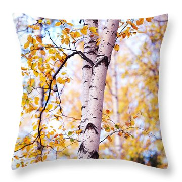 Dancing Birches Throw Pillow by Jenny Rainbow