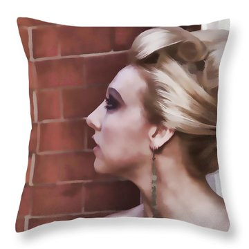 Dangling Earring Throw Pillow by Alice Gipson