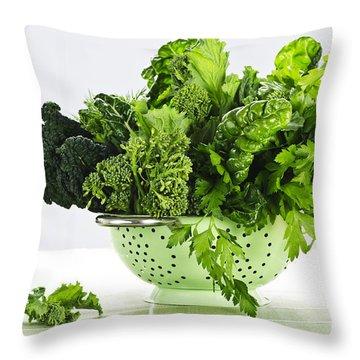 Dark Green Leafy Vegetables In Colander Throw Pillow by Elena Elisseeva