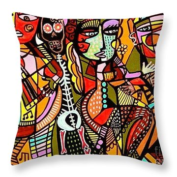 Day Of The Dead Lovers Tango Throw Pillow by Sandra Silberzweig