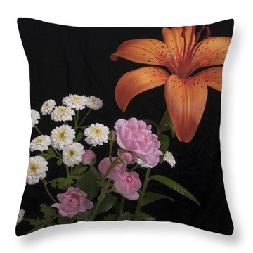 Daylily And Roses Throw Pillow by Michael Peychich